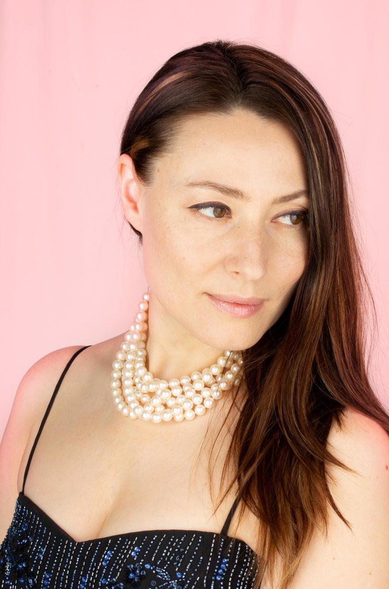 Artist Ella Gafter Pearl Strand Necklace For Sale