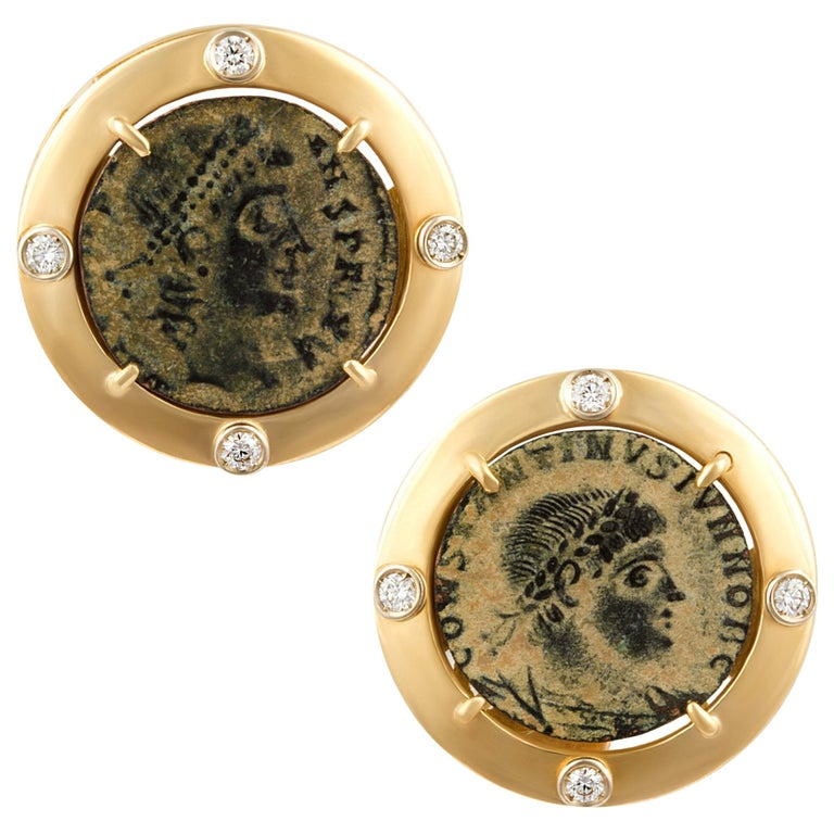 Ella Gafter Coin Diamond Cufflinks  For Sale