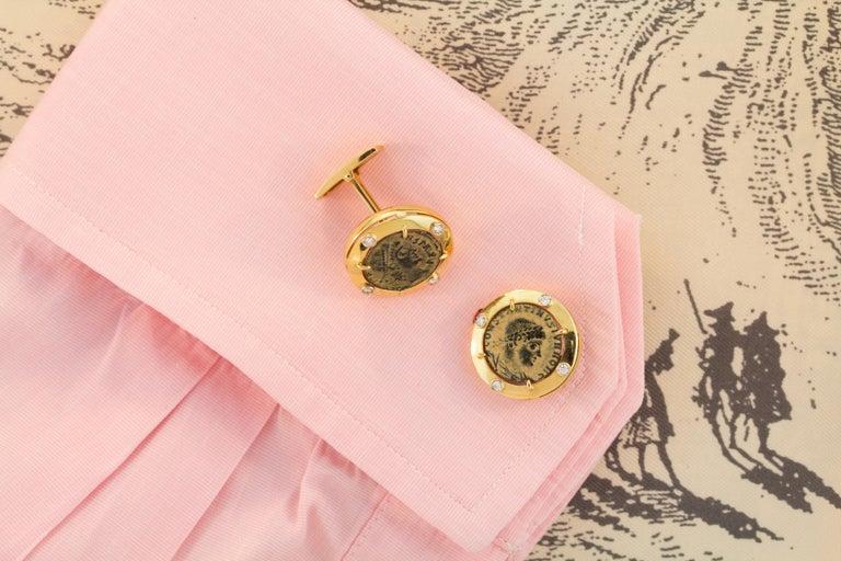 Artist Ella Gafter Coin Diamond Cufflinks  For Sale