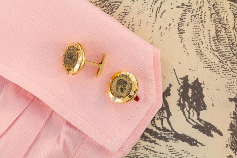 Brilliant Cut Ella Gafter Coin Diamond Cufflinks  For Sale