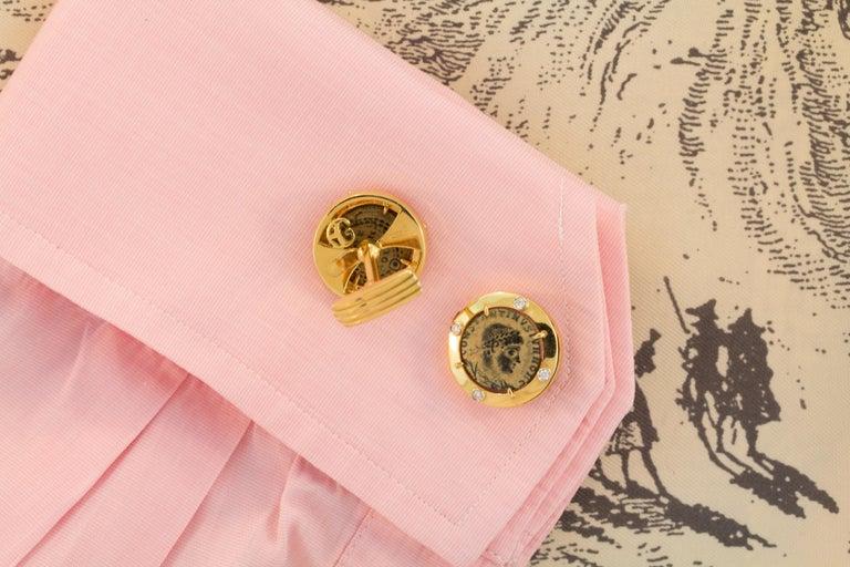 Men's Ella Gafter Coin Diamond Cufflinks  For Sale
