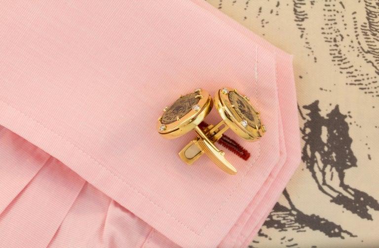 Ella Gafter Coin Diamond Cufflinks  For Sale 1