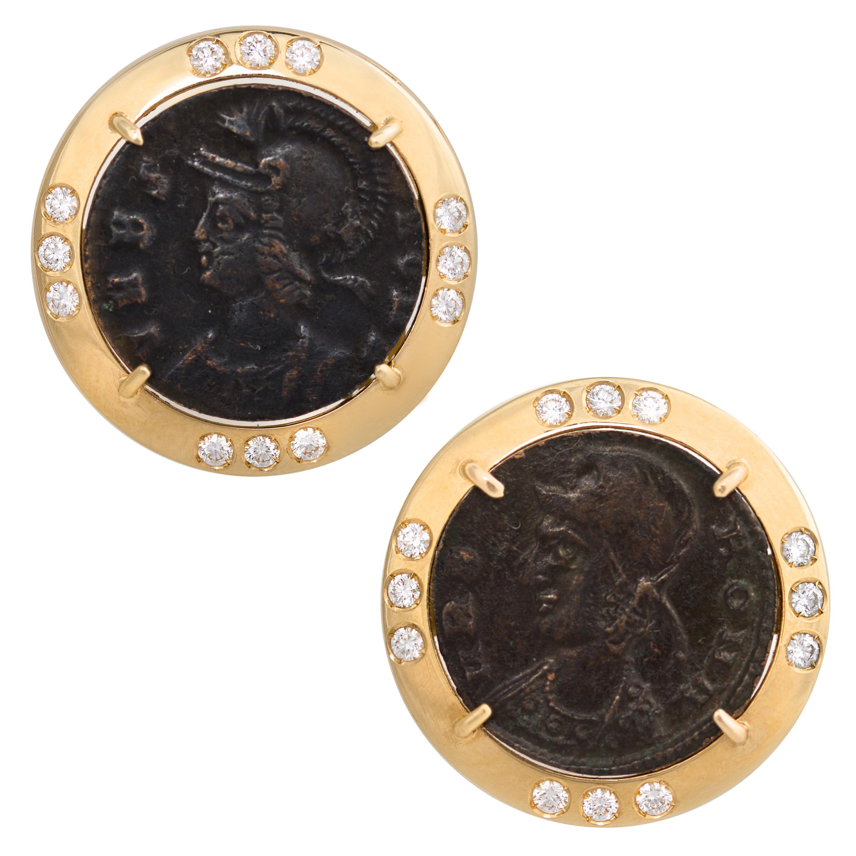 Ella Gafter Diamond Copper Coin Cufflinks