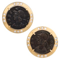 Ella Gafter Antique Copper Coin Cufflinks Yellow Gold Diamonds