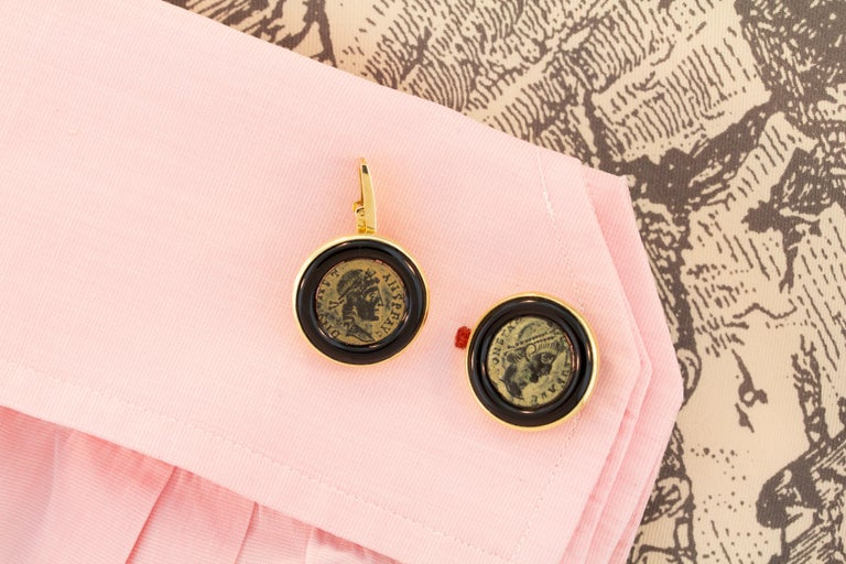Artist Ella Gafter Antique Copper Coin Cufflinks Yellow Gold For Sale