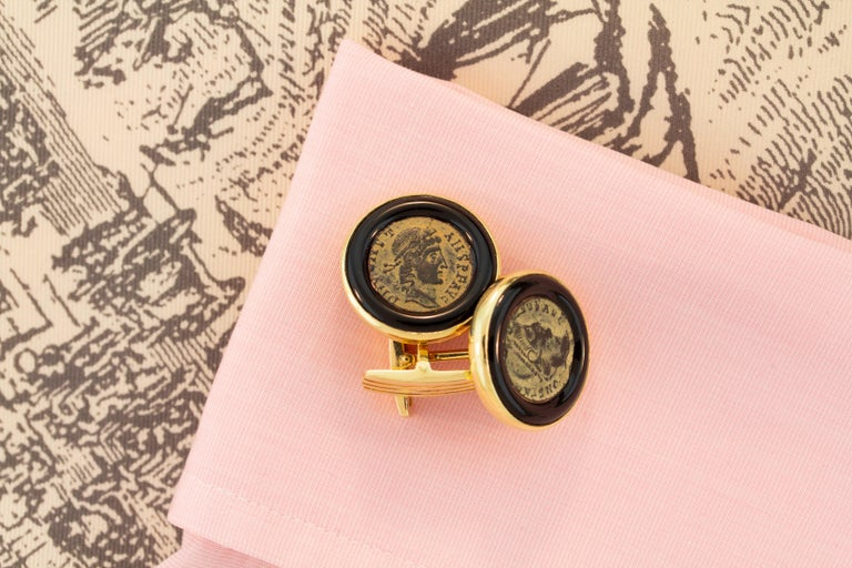 Men's Ella Gafter Antique Copper Coin Cufflinks Yellow Gold For Sale