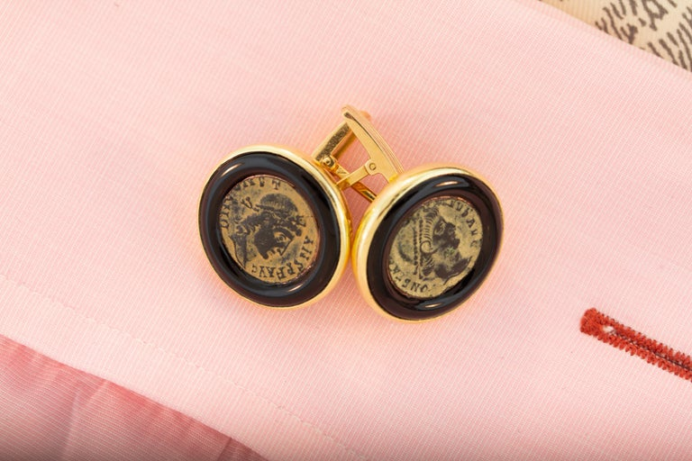 Ella Gafter Antique Copper Coin Cufflinks Yellow Gold For Sale 1