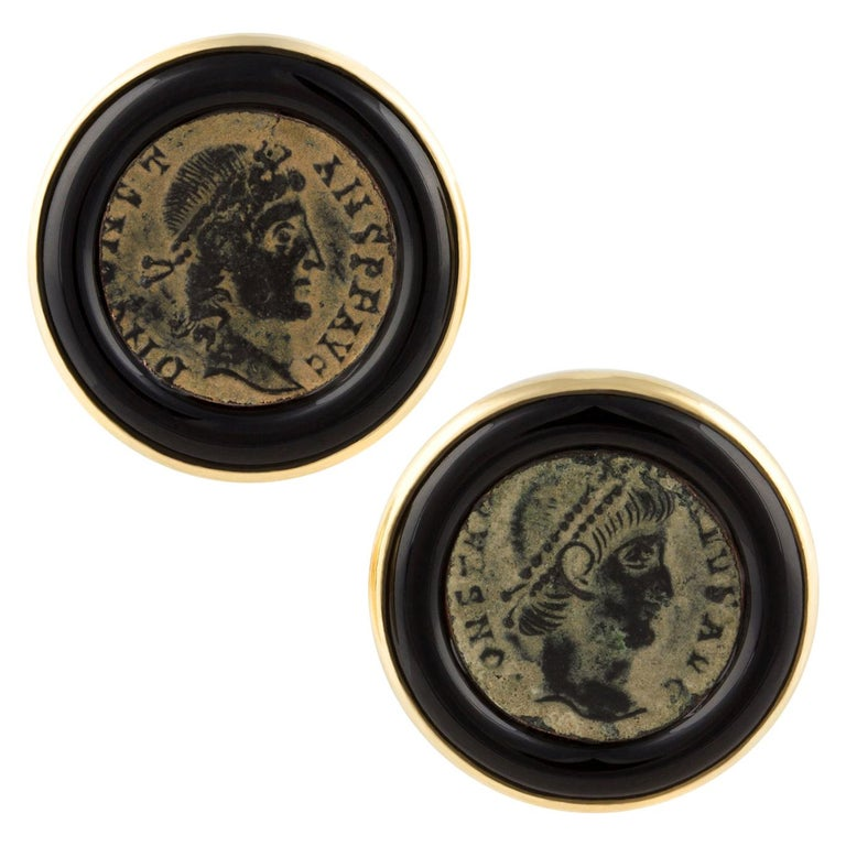 Ella Gafter Antique Copper Coin Cufflinks Yellow Gold For Sale
