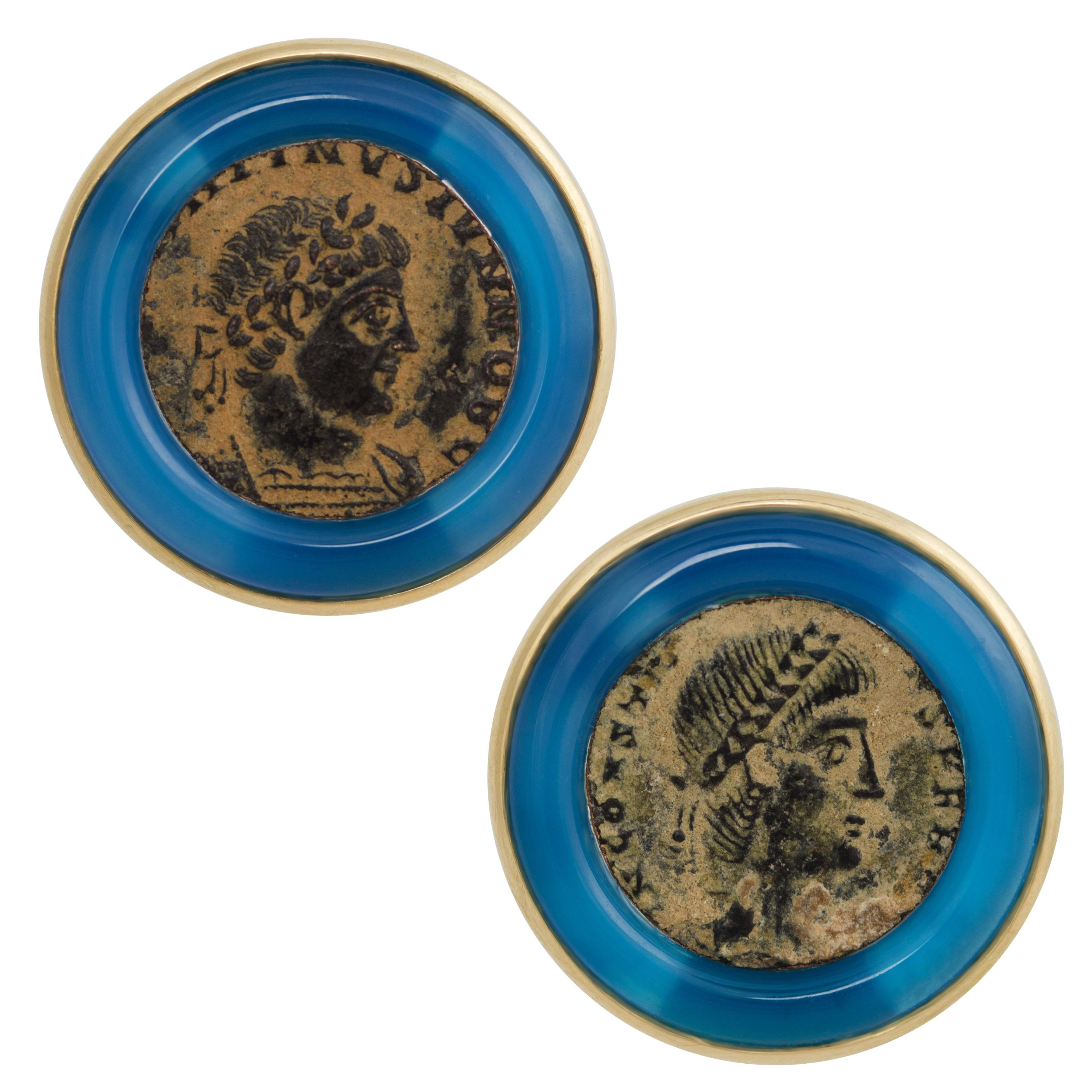 Ella Gafter Yellow Gold Coin Cufflinks