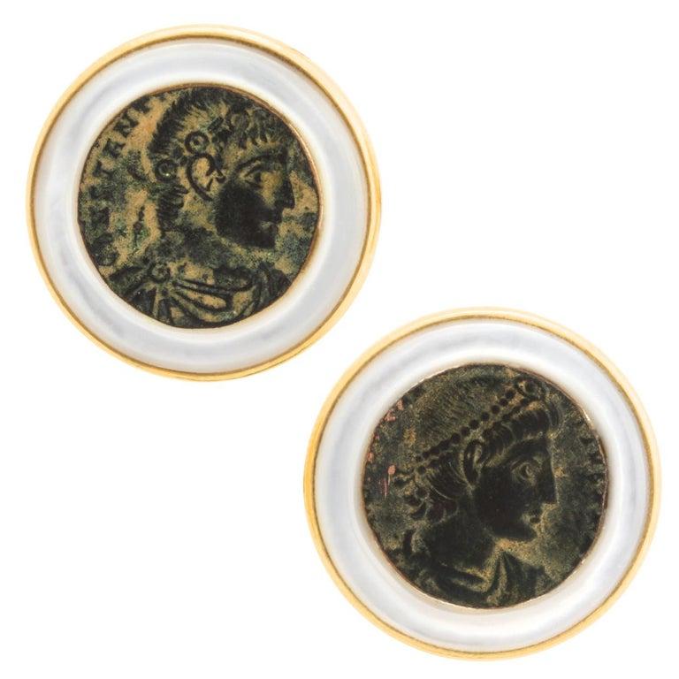 Ella Gafter Copper Coin Gold Cufflinks  For Sale
