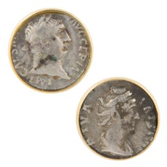 Ella Gafter Antique Silver Coin Cufflinks Yellow Gold
