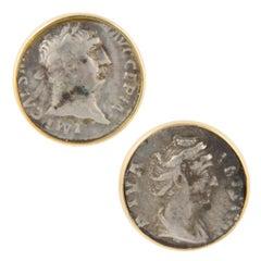Ella Gafter Silver Coin Gold Cufflinks