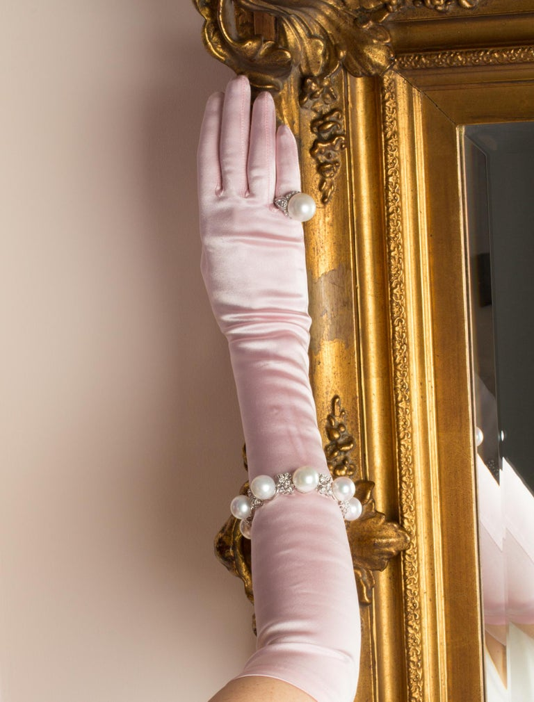 Ella Gafter Australian White South Sea Pearl and Diamond Bracelet For Sale 8