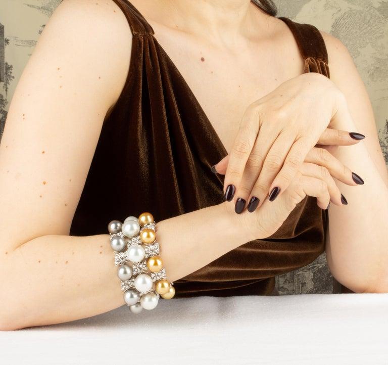 Ella Gafter Australian White South Sea Pearl and Diamond Bracelet For Sale 9