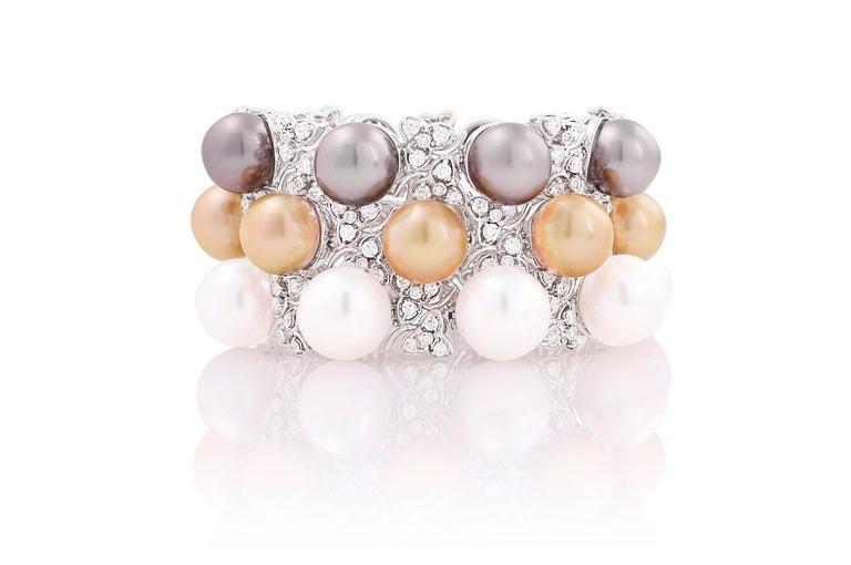 Ella Gafter Australian White South Sea Pearl and Diamond Bracelet For Sale 10