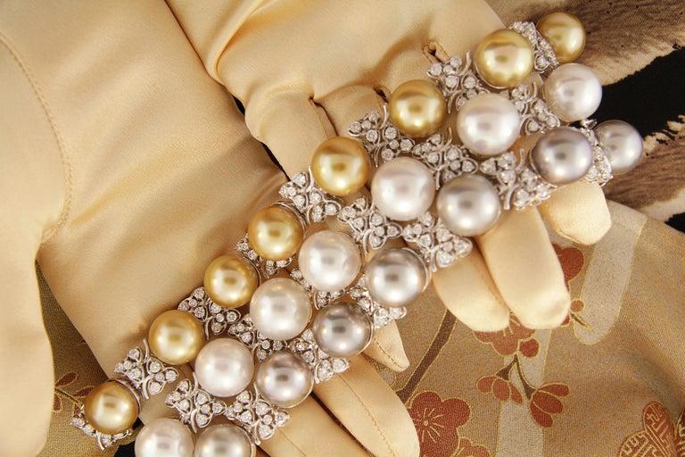 Ella Gafter Australian White South Sea Pearl and Diamond Bracelet For Sale 11