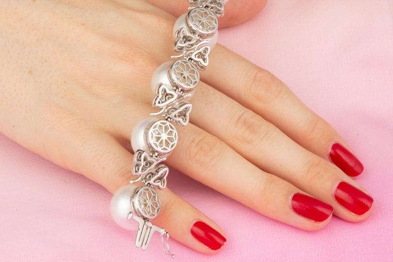 Women's Ella Gafter Australian White South Sea Pearl and Diamond Bracelet For Sale
