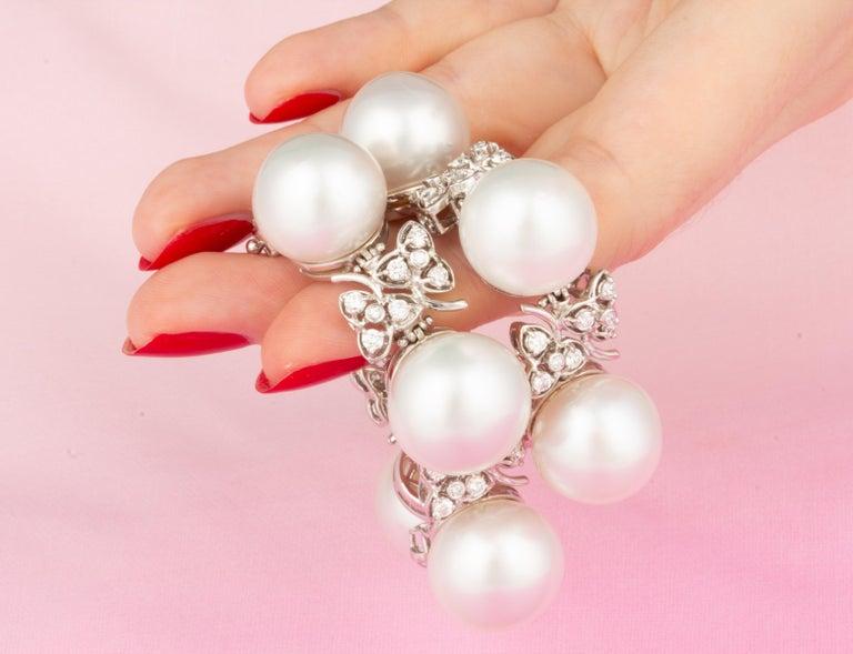 Ella Gafter Australian White South Sea Pearl and Diamond Bracelet For Sale 2