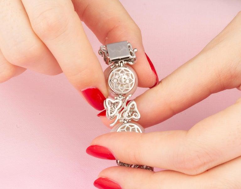 Ella Gafter Australian White South Sea Pearl and Diamond Bracelet For Sale 3