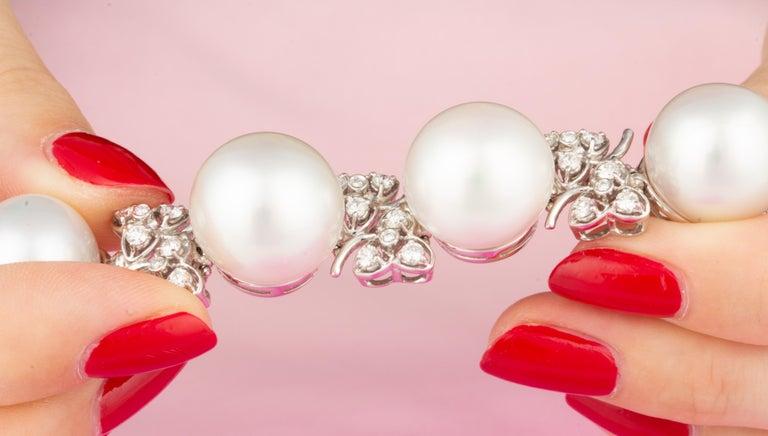 Ella Gafter Australian White South Sea Pearl and Diamond Bracelet For Sale 4