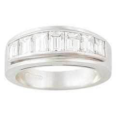 Ella Gafter Baguette Diamond White Gold Band Ring