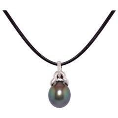 Ella Gafter Black Pearl Diamond Pendant Necklace
