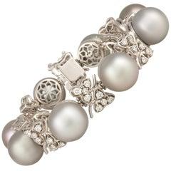Ella Gafter Black Tahitian Pearl Diamond Cuff Bracelet