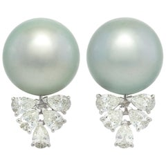 Ella Gafter Black Tahitian Pearl and Diamond Clip-On Earrings