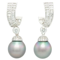 Ella Gafter Tahitian Pearl Baguette Diamond Earrings