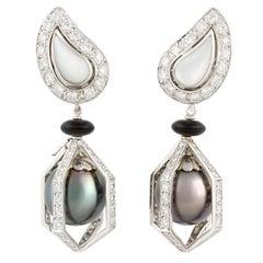 Ella Gafter Black Tahitian Pearl and Diamond Drop Earrings