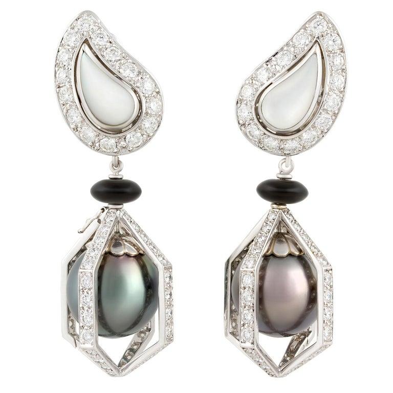 Ella Gafter Black Tahitian Pearl and Diamond Drop Earrings For Sale