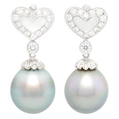 Ella Gafter Black Tahitian Pearl and Diamond Earrings