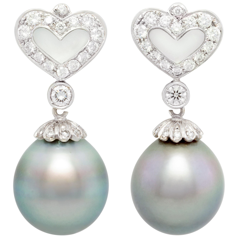 Ella Gafter 16.5mm Black Tahitian Pearl Diamond Earrings