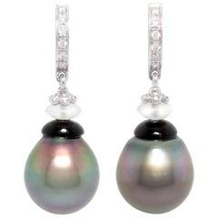 Ella Gafter Black Tahitian Pearl and Diamond Earrings White Gold