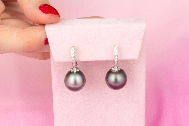 Artist Ella Gafter 13.5mm Black Tahitian Pearl Diamond Earrings  For Sale