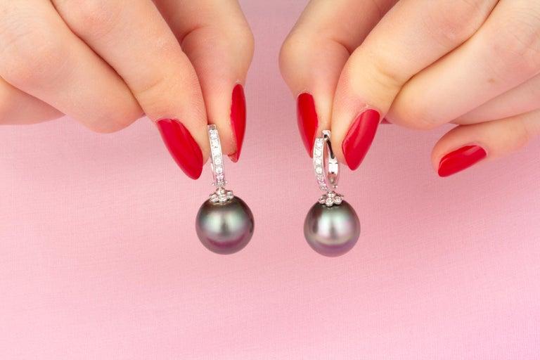 Brilliant Cut Ella Gafter 13.5mm Black Tahitian Pearl Diamond Earrings  For Sale