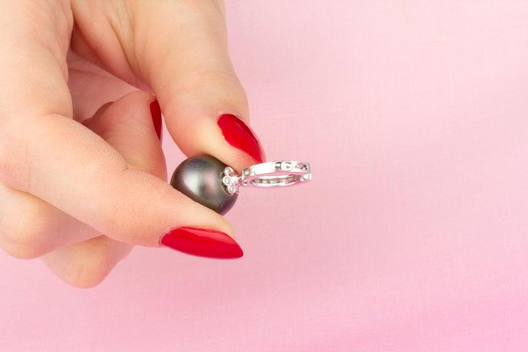 Women's Ella Gafter 13.5mm Black Tahitian Pearl Diamond Earrings  For Sale
