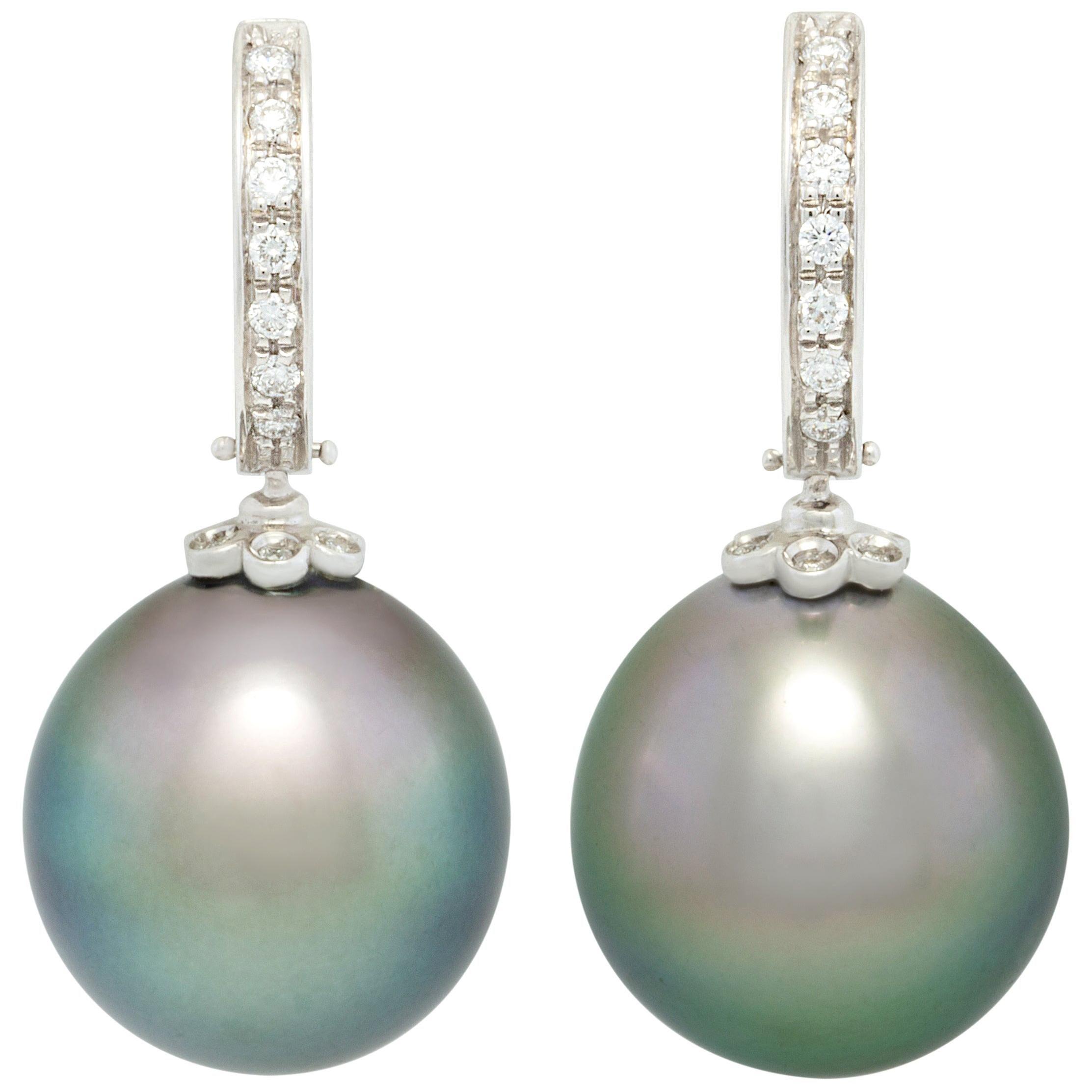 Ella Gafter 16mm Black Tahitian Pearl Diamond Earrings