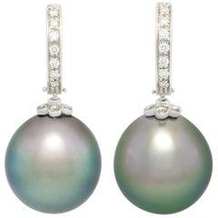 Ella Gafter Black Tahitian Pearl and Diamond Earrings White Gold Hoop Drop