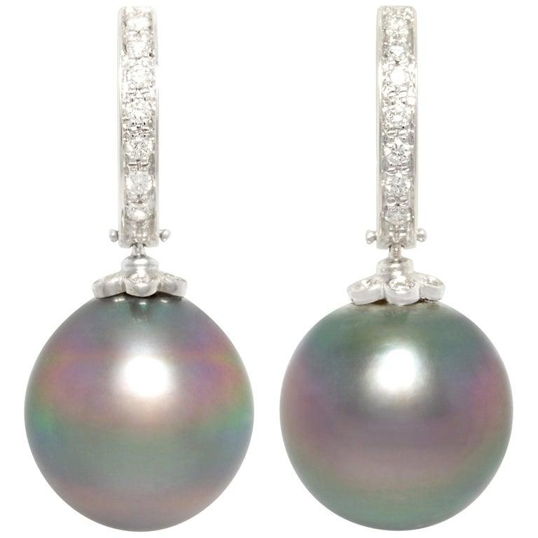 Ella Gafter 13.5mm Black Tahitian Pearl Diamond Earrings  For Sale