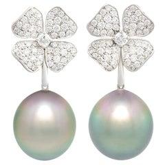 Ella Gafter Black Tahitian Pearl and Diamond Flower Drop Earrings