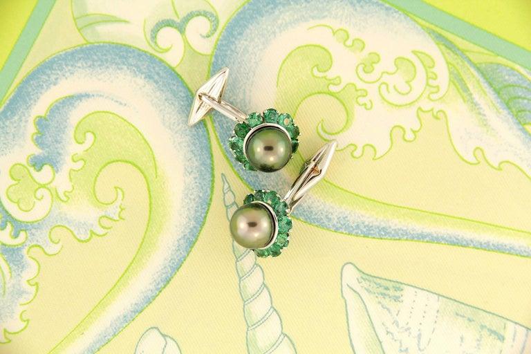 Artist Ella Gafter Pearl Emerald Cufflinks  For Sale