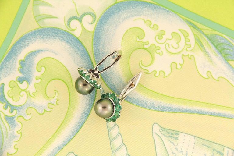 Women's or Men's Ella Gafter Pearl Emerald Cufflinks  For Sale