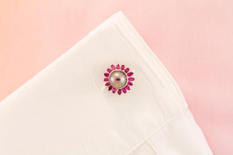 Marquise Cut Ella Gafter Black Pearl Ruby Cufflinks  For Sale