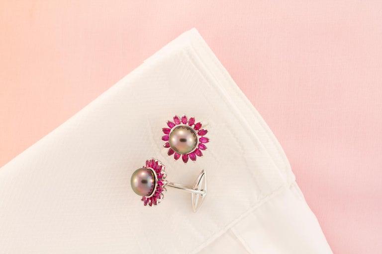 Women's or Men's Ella Gafter Black Pearl Ruby Cufflinks  For Sale
