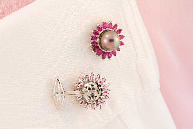 Ella Gafter Black Pearl Ruby Cufflinks  For Sale 1