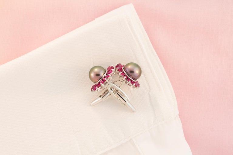 Ella Gafter Black Pearl Ruby Cufflinks  For Sale 2
