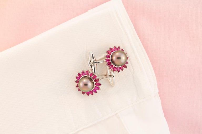 Ella Gafter Black Pearl Ruby Cufflinks  For Sale 3