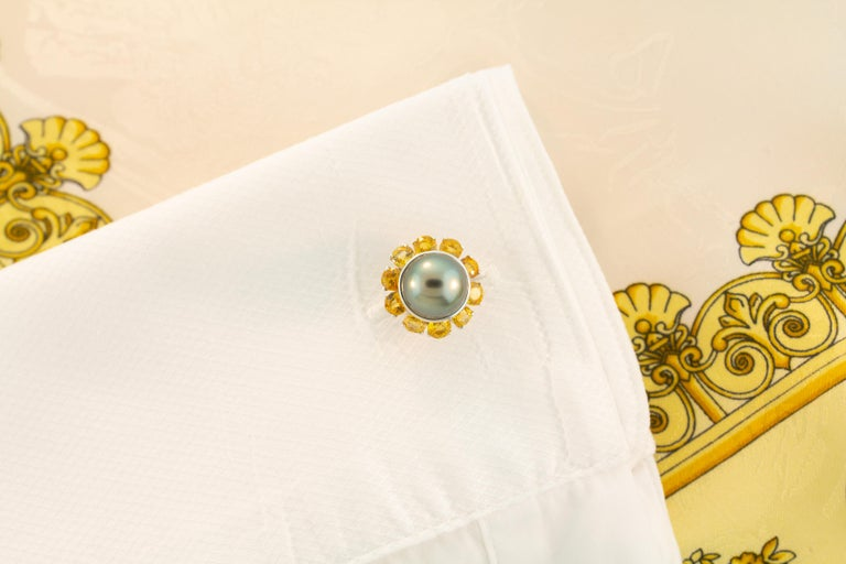 Artist Ella Gafter Black Pearl Sapphire Cufflinks For Sale