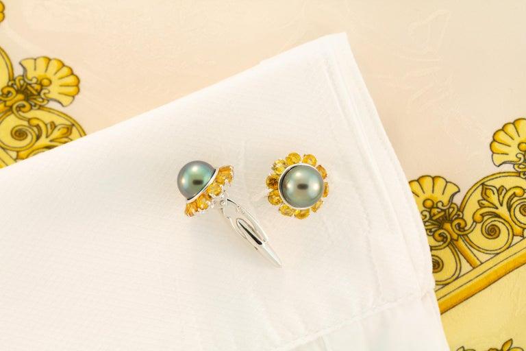 Oval Cut Ella Gafter Black Pearl Sapphire Cufflinks For Sale